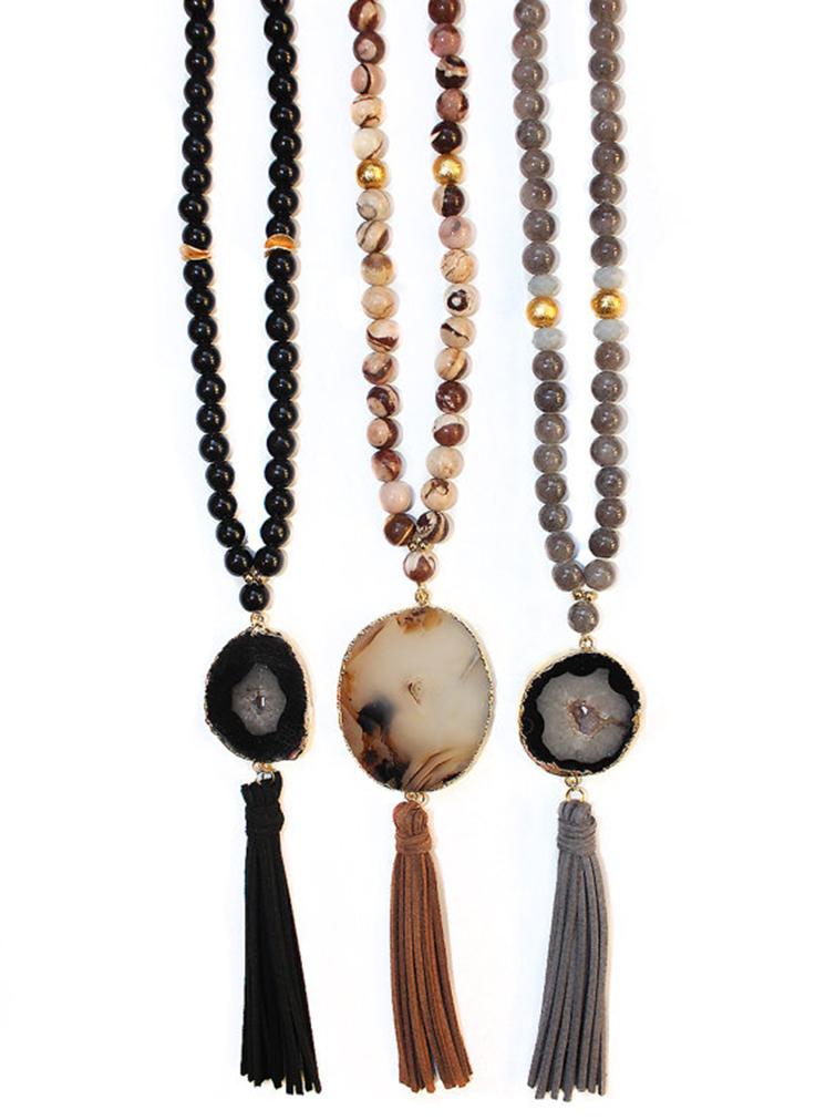 Beaded Druzy Agate Tassel Necklaces