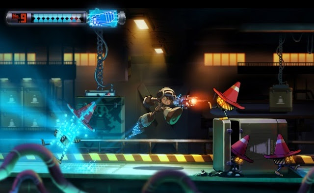 "Image of Beck running through a stage in promotional artwork for the video game ""Mighty No. 9"""
