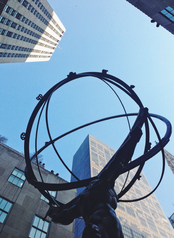 the statue of atlas in rockefeller plaza.