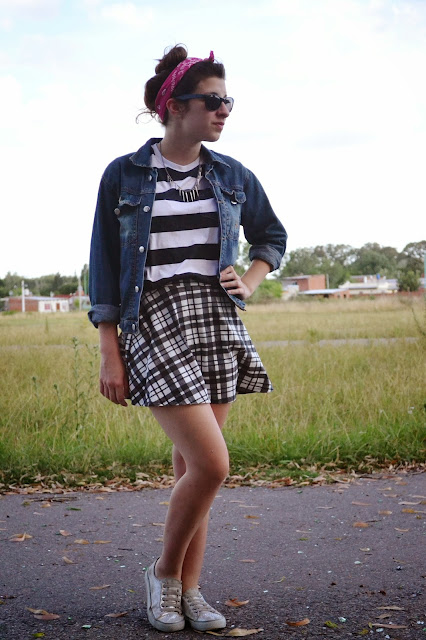 tartan, skirt, skater skirt, stripes, black and white, denim jacket, bandana