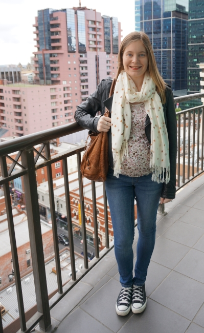 Away From Blue   Melbourne Travel outfit floral tank star pashmina maternity skinny jeans converse