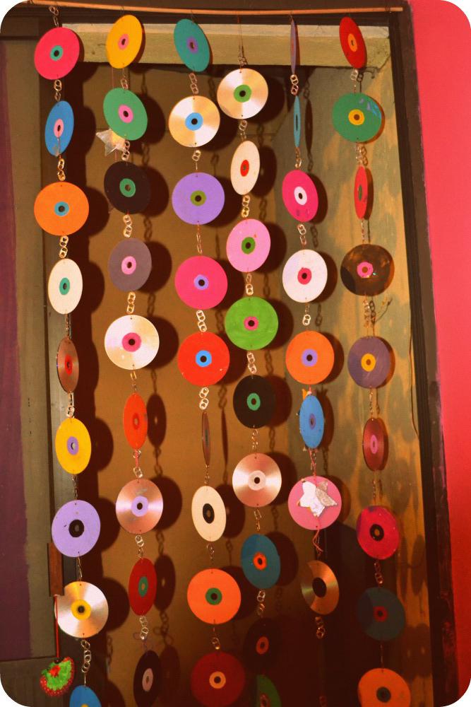 DiY. Cortina de discos. 100% reciclada   Sirène rose