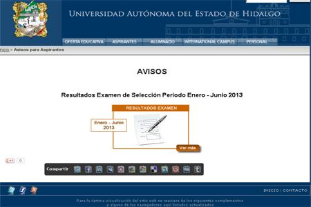 Consulta resultados ingresantes examen UAEH Enero Junio 2013