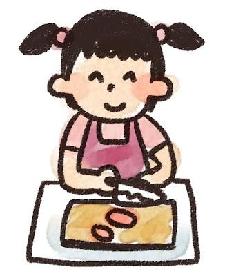 料理のイラスト「料理をしている女の子」