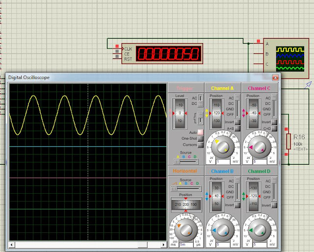 Sine wave and vsm counter in proteus