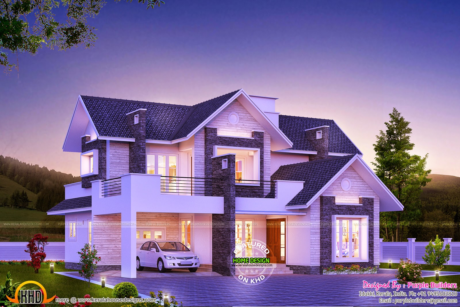 Super dream home kerala home design and floor plans for Home builder contractors