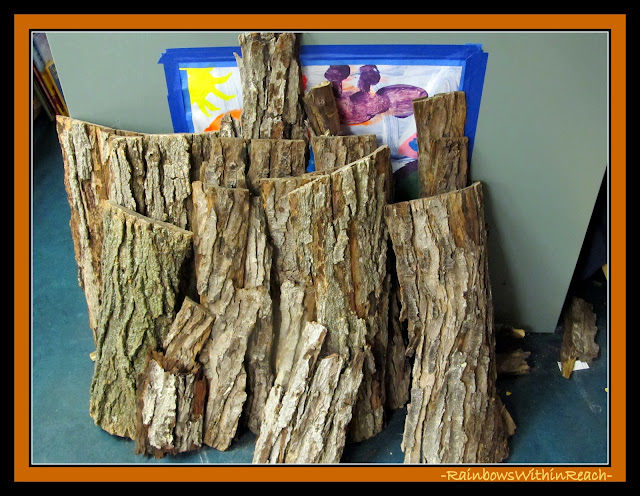 Slabs of Tree Bark in the Preschool Classroom for Loose Parts via RainbowsWIthinReach