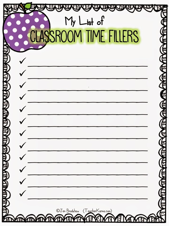 List of time filler activities for the classroom.  TeacherKarma.com