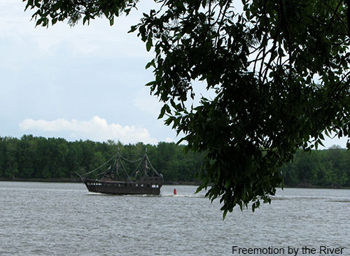 Pirate ship on the Mississippi river
