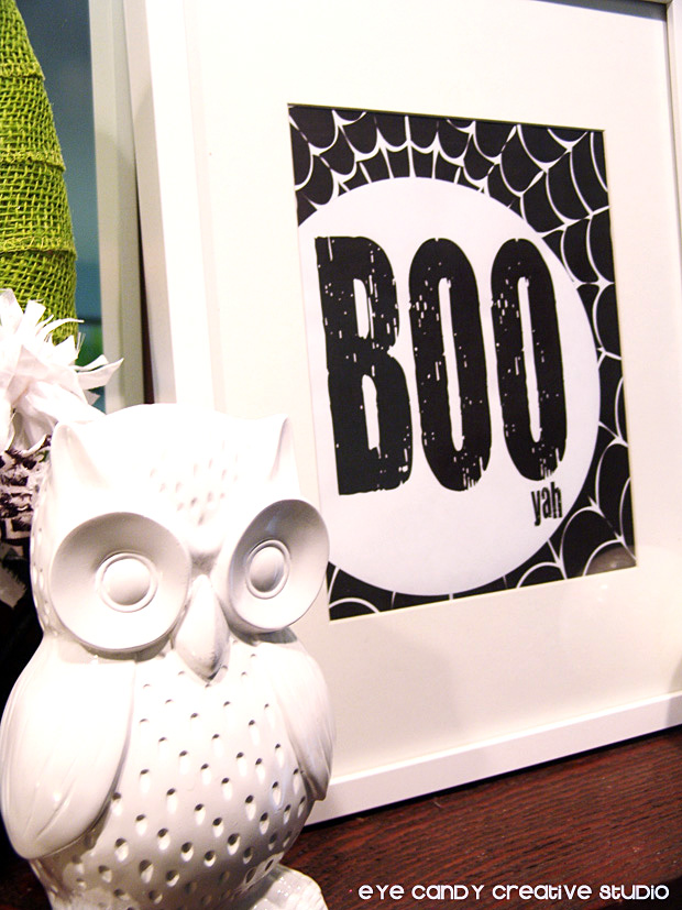 owl, free BOO art print, BOO yah, framed Halloween art, freebies