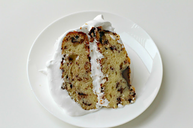 ... and Honey: Sour Cream Chocolate Chip Cake with Marshmallow Frosting