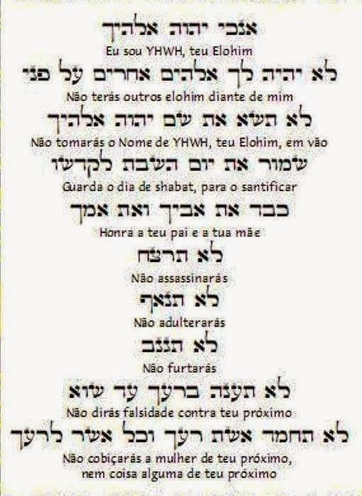 Dez palavras do Eterno para toda a humanidade.