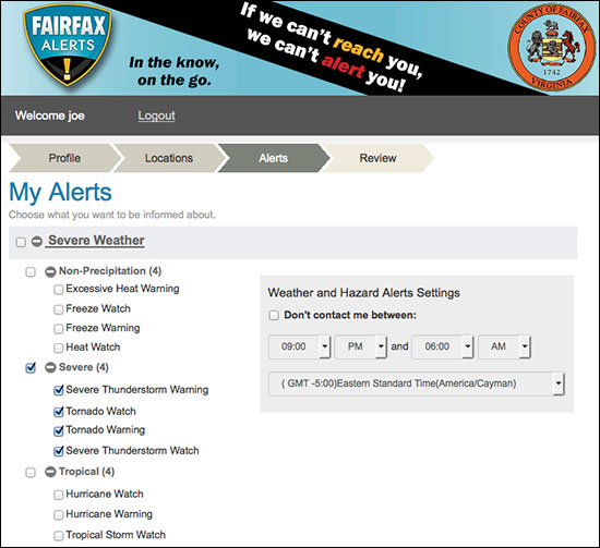 Screenshot of the Fairfax Alerts customization screen.