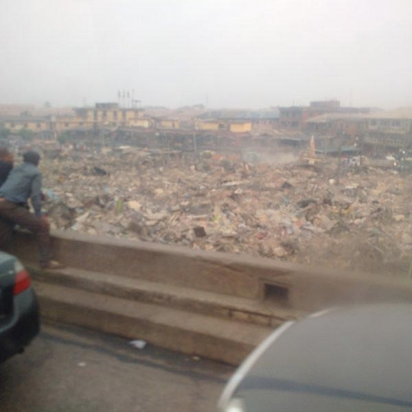 Photos: Heavy Duty Trucks Seen Crushing Shops As Demolition Begins At Oshodi Market