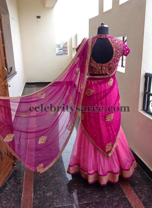 Half Saree with Pink Work Blouse