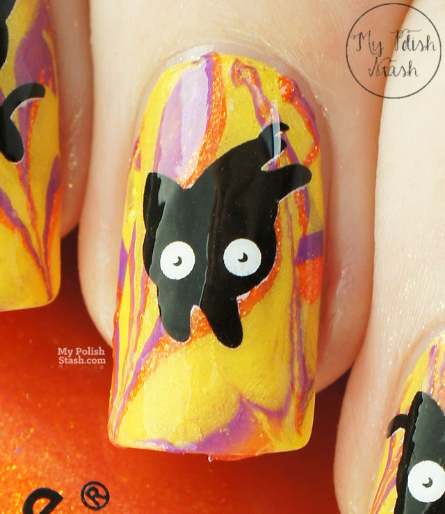 watermarble halloween nail art