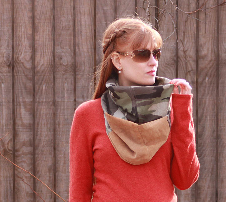 Diy Flannel And Suede Infinity Scarf Gina Michele