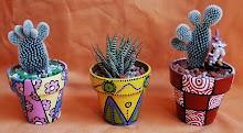 Cactus con macetas Nº8 pintadas a mano $45 c/u