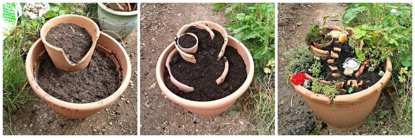 M s y m s manualidades mini jardines en macetas quebradas for Manualidades para jardin