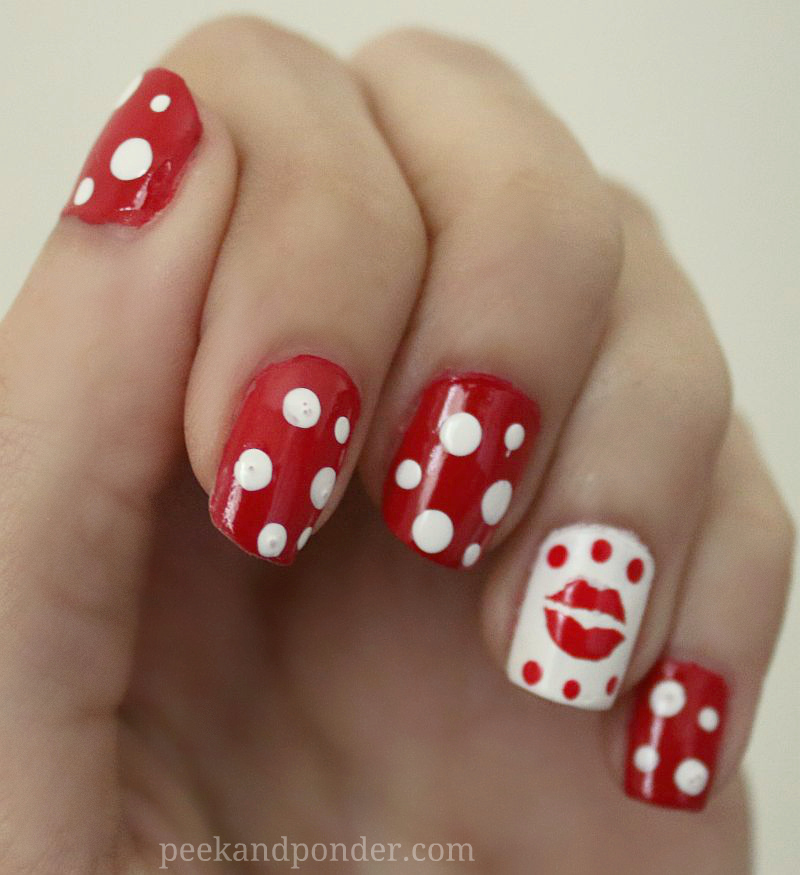 Red and white Valentine's nails