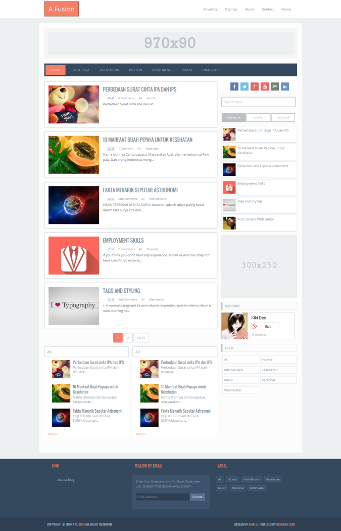 A Fusion Responsive Blogger Template