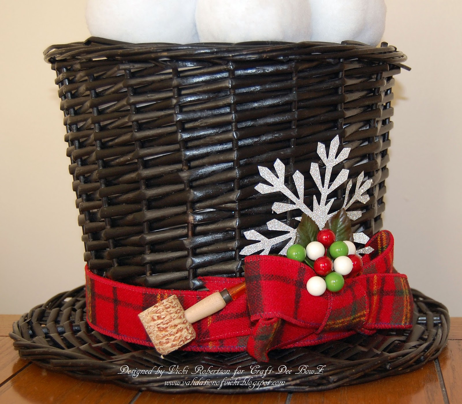 Snowman hats for crafts - When I Came Across This Black Hat Shaped Basket I Knew It Was Going To Become A Magical Piece Of Holiday Decor I Even Found Snowballs To Fill The Hat