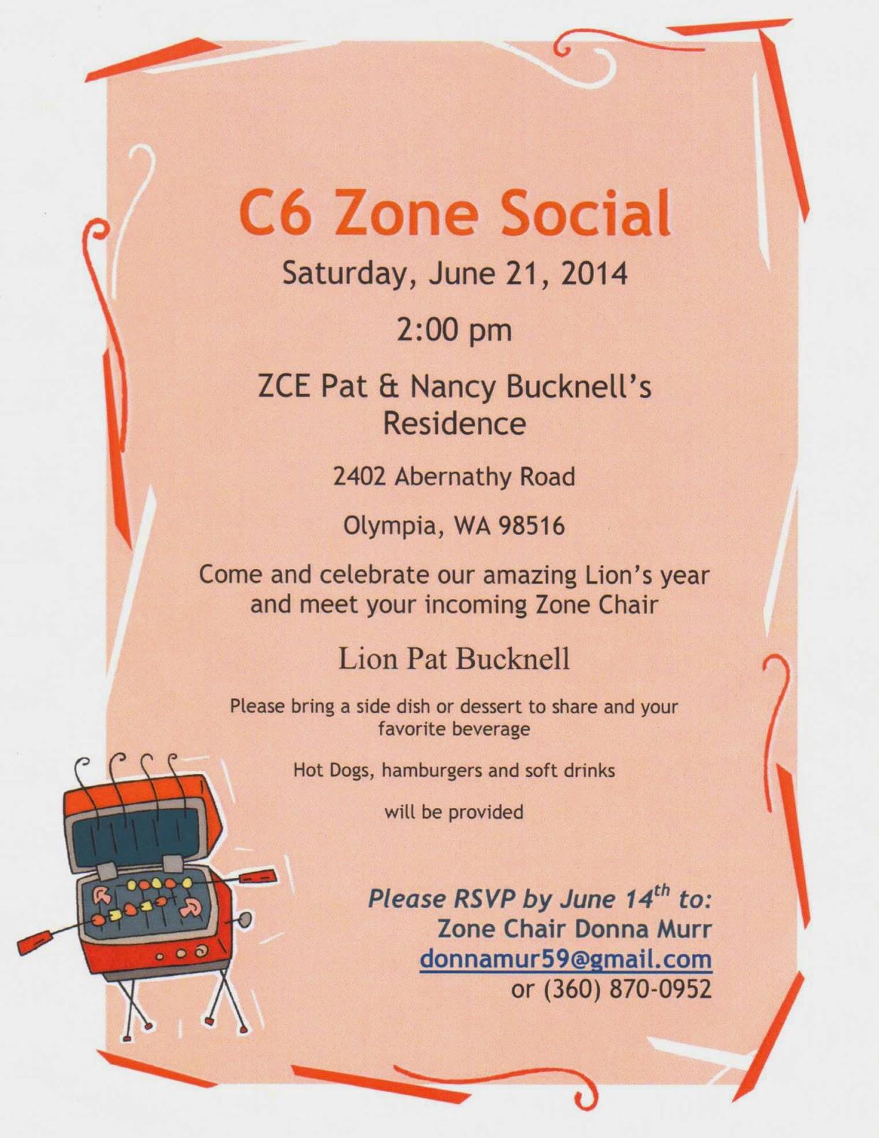 Rainier Lions Club C6 Zone Social June 21 2014
