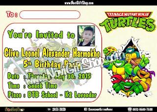 Undangan NinjaTurtle CLIVE  Kartu Undangan Ulang Tahun Anak (Invitation Card)
