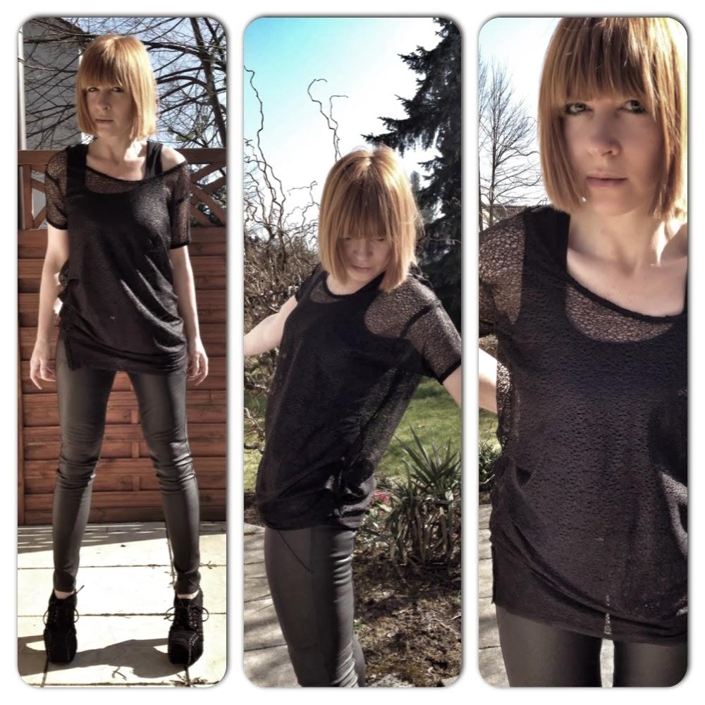 t-shirt mesh black ruffles