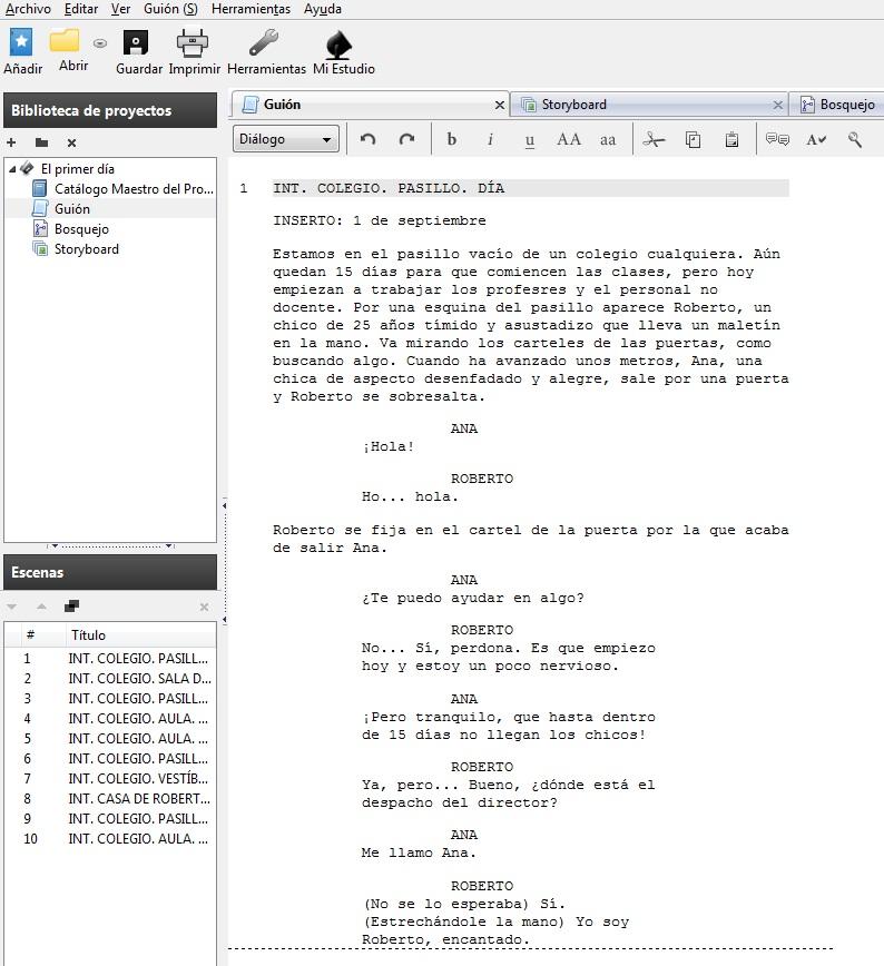 LA PRIMERA CLASE (Cortometraje): Escribiendo el guión con Celtx
