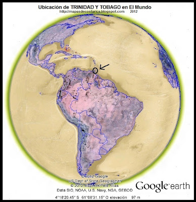 El Mundo. Ubicación de TRINIDAD Y TOBAGO en El Mundo, Google Earth