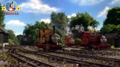 Thomas Rusty the diesel and Sir Handel Island of Sodor narrow gauge steam engines black coal trucks