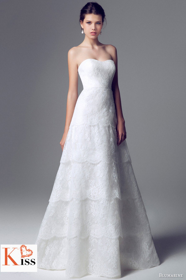 Simple Lace A-line 2014 Wedding Dresses Collection From Blumarine