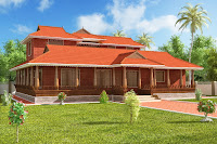 diseño de casa roja 3d de dos pisos