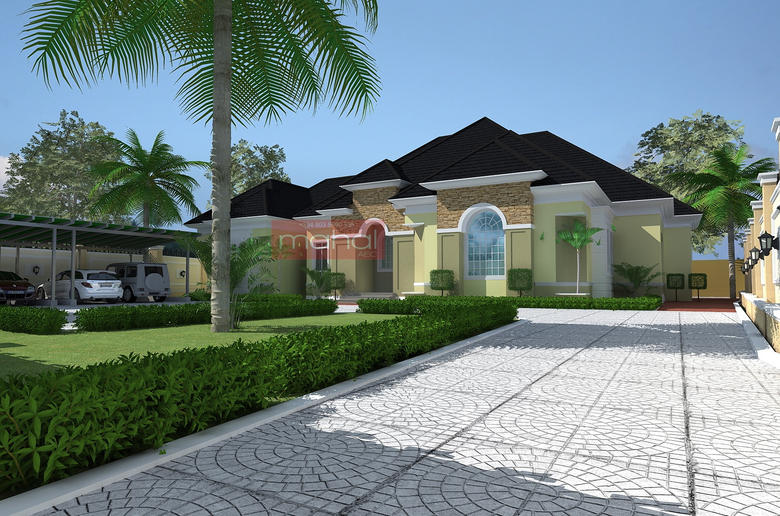 Residential Architecture Luxury 5 Bedroom Bungalow Ido