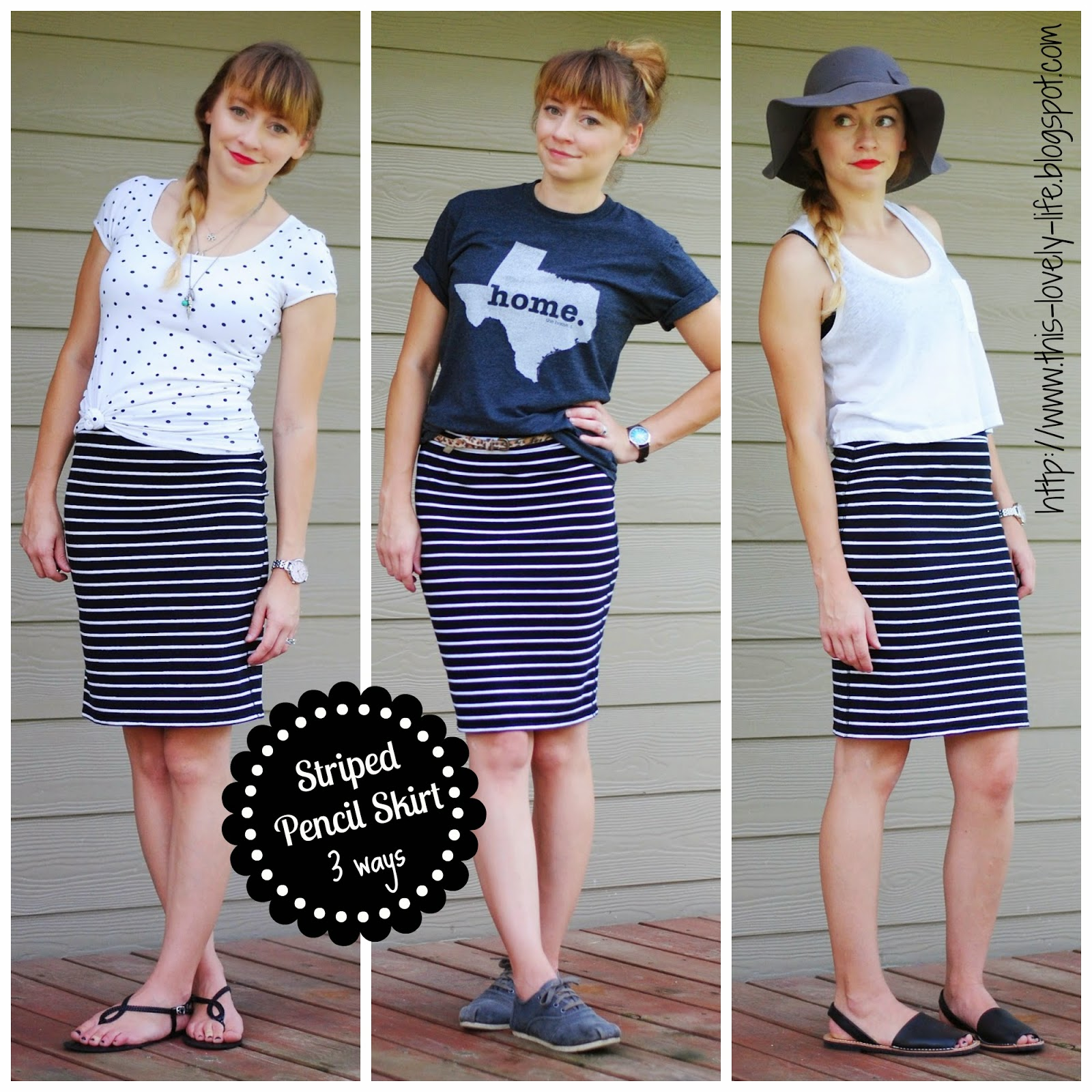 Striped pencil skirt styling