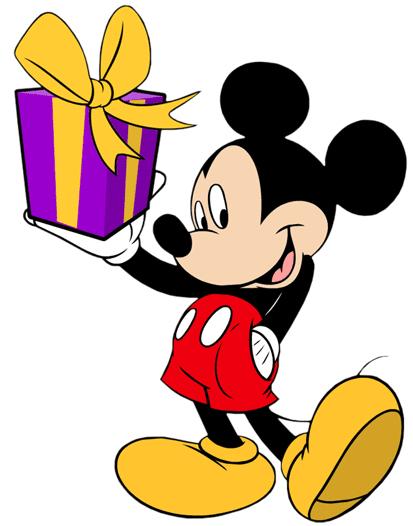 Mickey mouse con regalo de cumpleaños