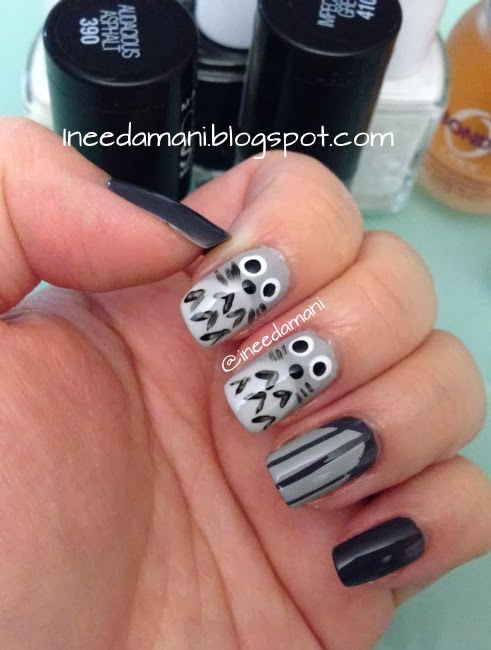 totoro nails maybelline color show audacious asphalt impeccable greys essie marshmallow blanc licorice