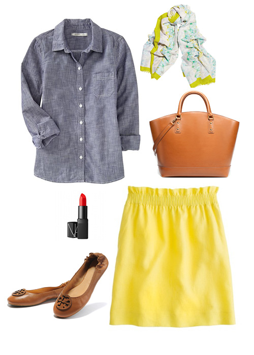 Elements of katie yellow skirt chambray shirt for Cuisine you chambray