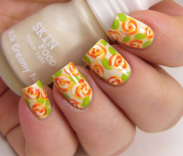 orange rose nail art on Skinfood BE002
