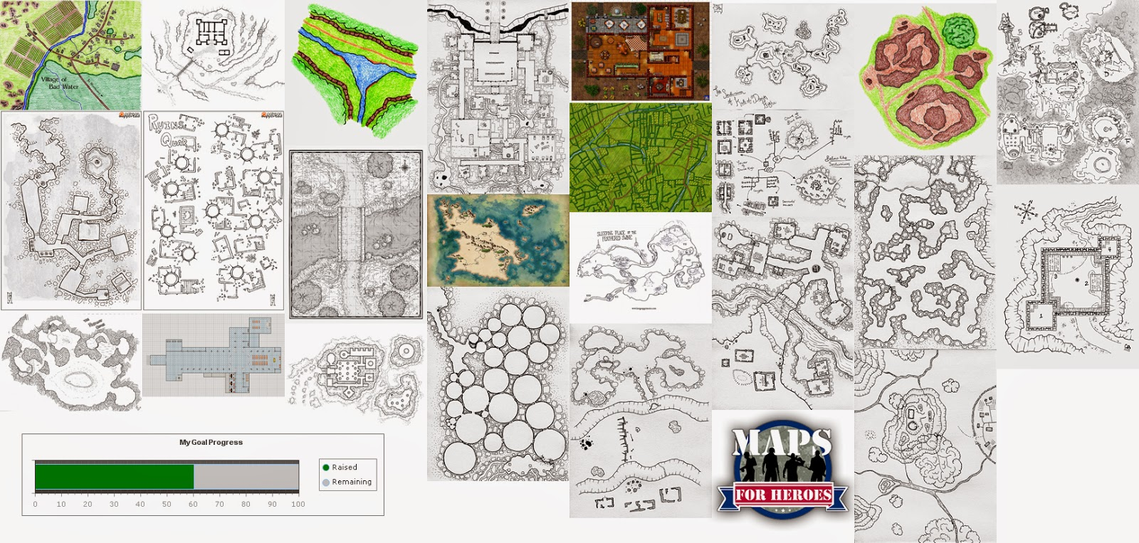 A preview of most of the maps available with Maps For Heroes