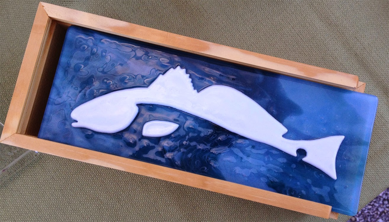 fused glass art redish fish stained silhouette water box florida flutterbyfoto flutterbybutterfly flutterby butterfly Sharon Warren