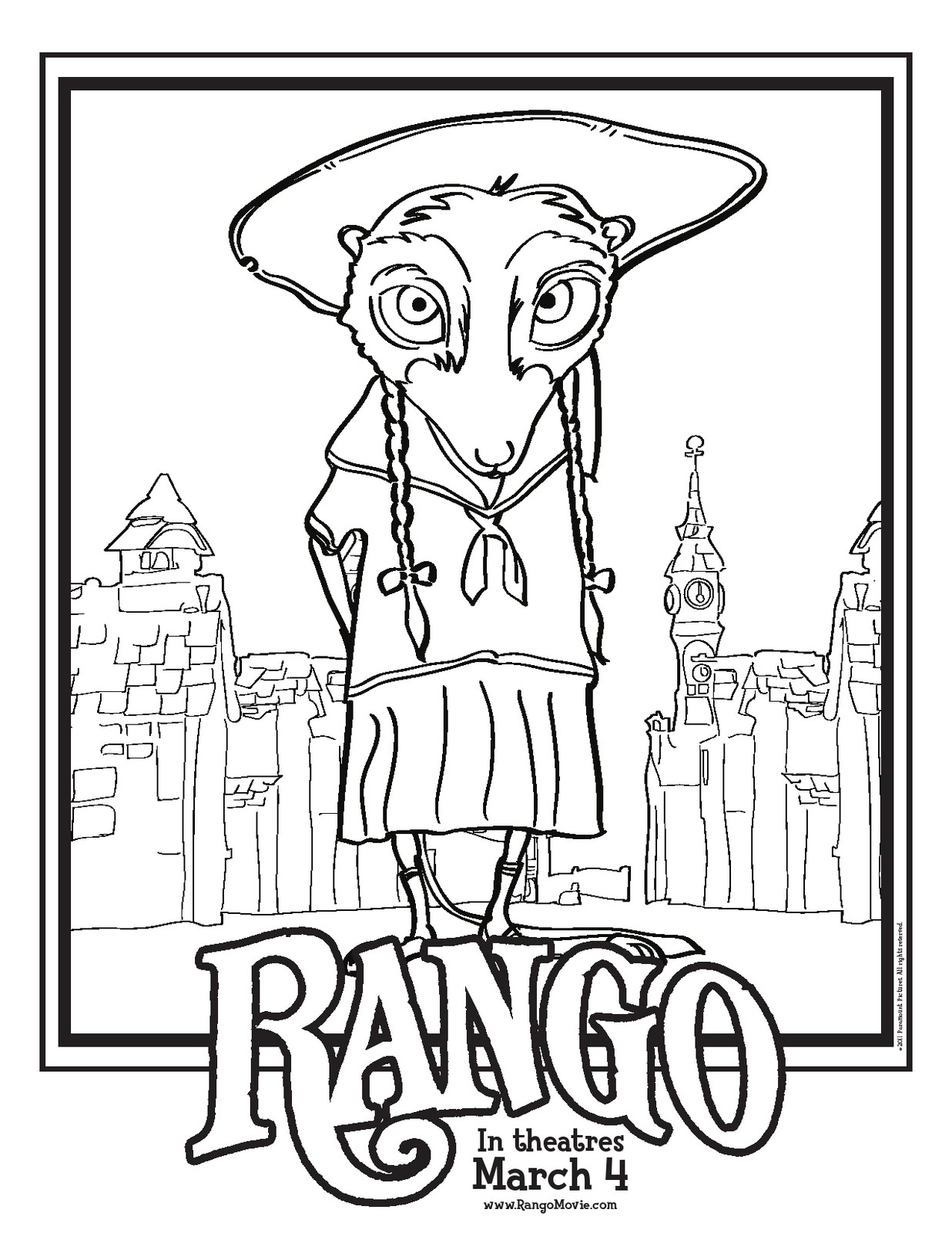 Free Animated Folder Coloring Pages Rango Coloring Pages