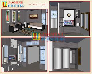 Desain Rumah, Ruang Tamu, Backdrop TV, Lemari TV, Lemari Pakaian, Meja Rias, Partisi Ruangan