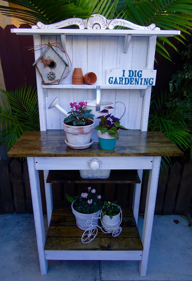 Cottage Chic Potting Table - Available $250
