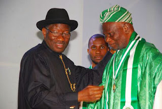 President Goodluck Jonathan and Taiwo Akinkunmi