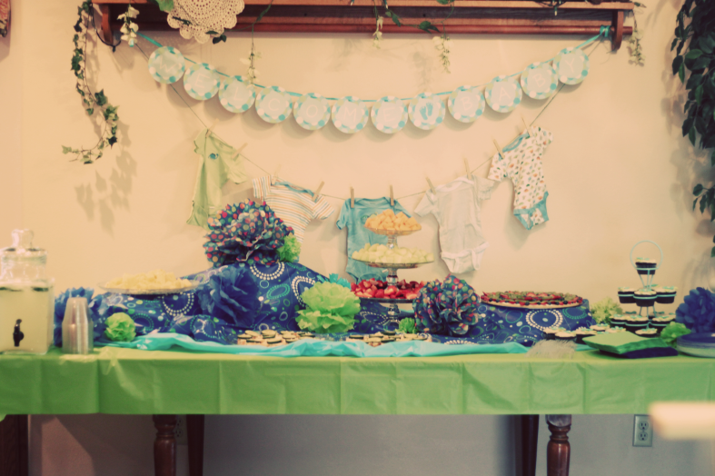 beccamarie designs blue and green baby shower