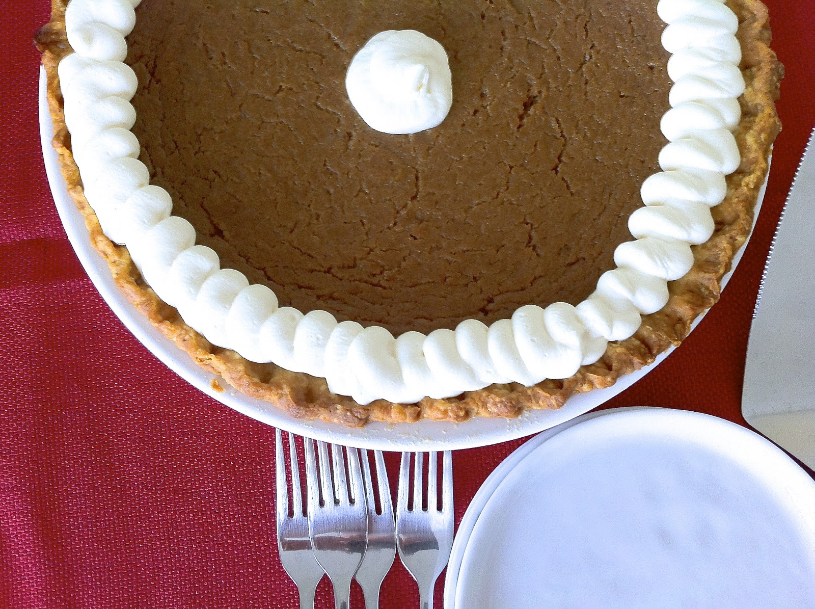 Pumpkin Pie with Whipped Cream, Closeup