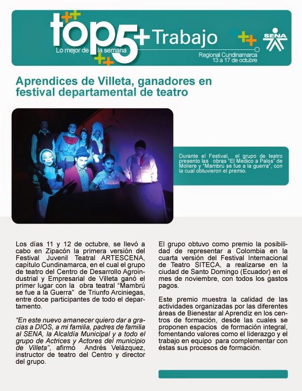 Aprendices de Villeta, ganadores en festiva departamental de teatro