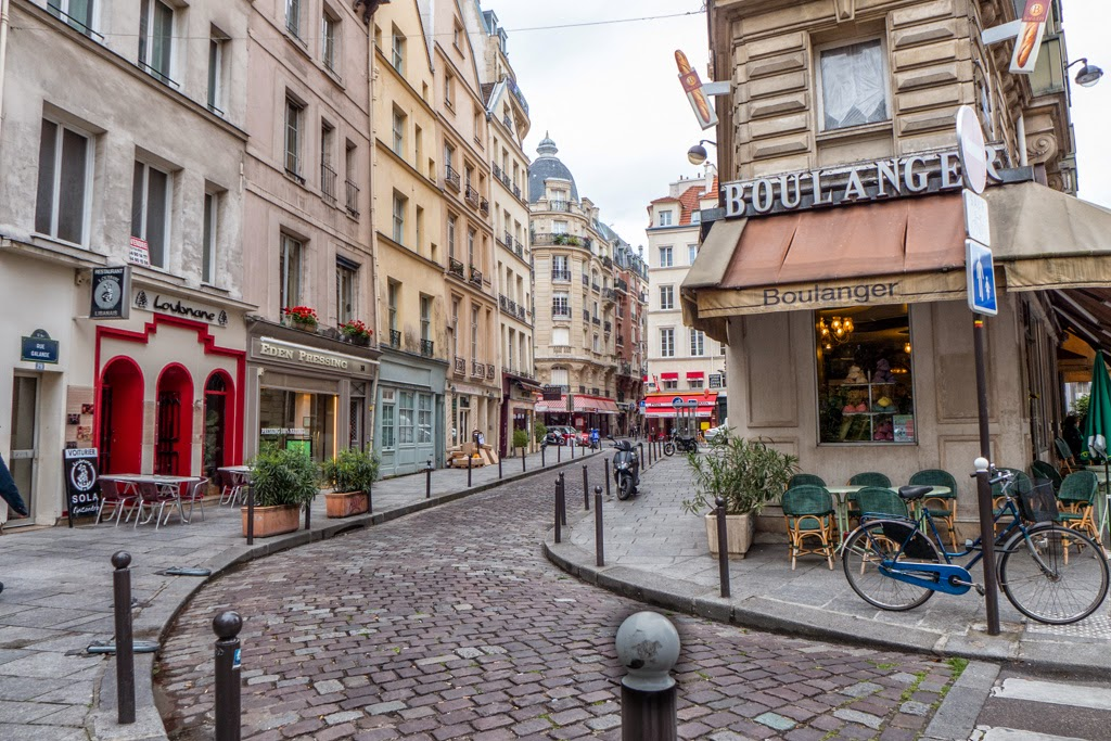 Paris France cobblestone street scene